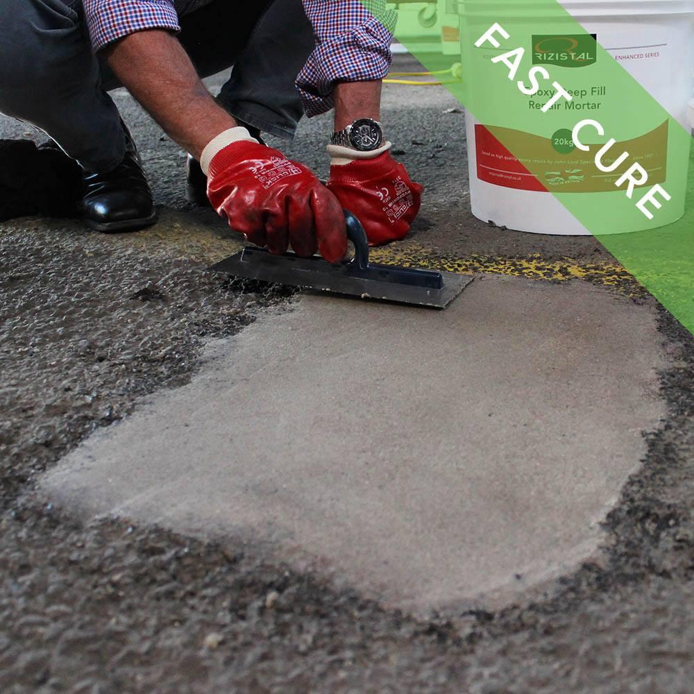 Fast Cure Epoxy : Rizistal deep fill epoxy concrete repair mortar fast cure