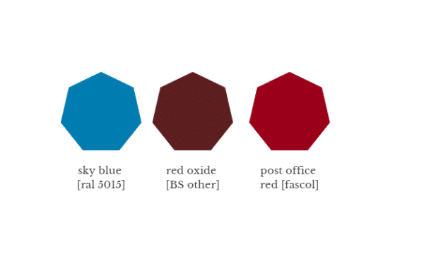 sky blue, red oxide, post office red